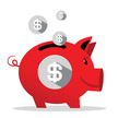 Coin,Pig,White Background,C...