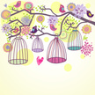Tree,Bird,Birdcage,Cute,Car...