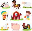 Rooster,Pig,Fun,Cute,Illust...
