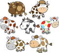 Cow,Set,Cattle,Cute,Animal,...