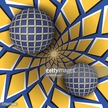 Two balls are moving on rotating blue yellow background