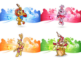Children Vector Animals Rock Band