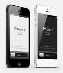 3-4 View iPhone 5 Psd Vector Mockup