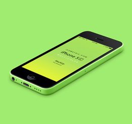 3D weergave iPhone 5C Psd Vector Mockup