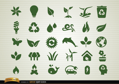 Environmental awareness icons set