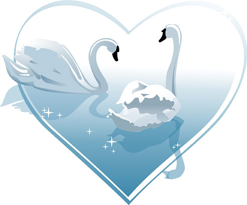 Heart-shaped White Swan Vector Of Material Heart-shaped