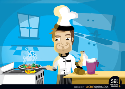 Chef Cooking in the Kitchen