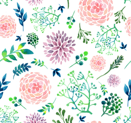 Watercolor flowers seamless background