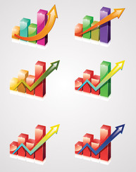 Business Growth Chart Clipart with Arrow