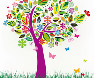Abstract Tree with Flower Patterns