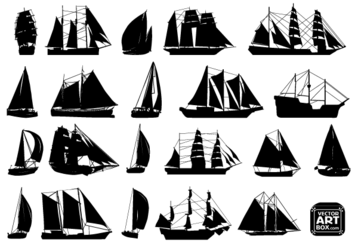 Free Vector Sailboat Silhouettes