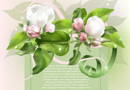 Green invitation card with flower