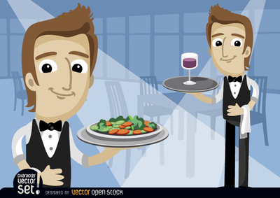 Waiters with salad saucer and wineglass
