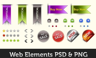 Web elements PSD and PNG design