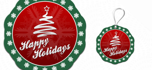 Label PSD Template for Holiday Greetings