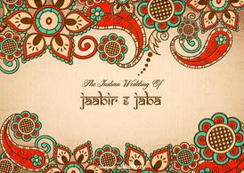 Free Vector Colorful Indian Wedding Card