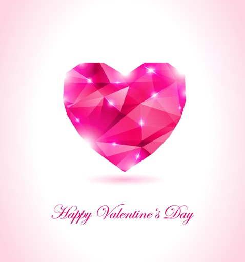 Happy Valentines Day Geometrical Heart