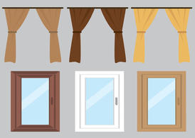 Free Vector Curtain and Windows