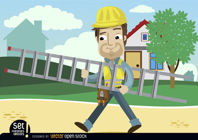 Contruction Worker Cartoon carrying ladder