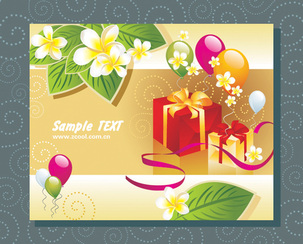 Balloon Gift Cards Vector Graphic Leaves