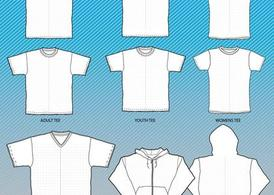 T-Shirts Mock-Up Templates with Grid