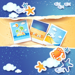 Summer beach background vector-3