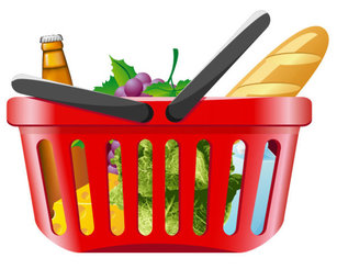 Fruits and vegetables and shopping baskets 01 - vector mater