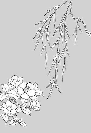 Japanese line drawing of plant flowers vector material -16 (