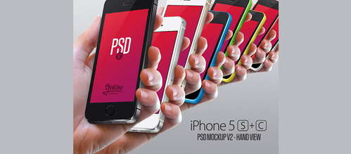 Hand View iPhone 5S & 5C Mockup