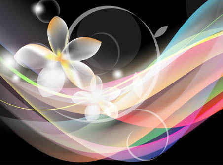 Abstract Waves Flower Background