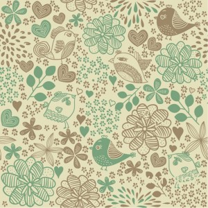 Birds and flowers seamless pattern