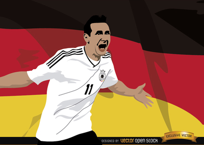Miroslav Klose with Germany flag