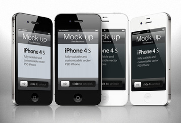 iPhone 4s Psd Vector Mockup Template