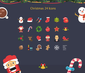 Christmas & New Year Colorful Icon Set