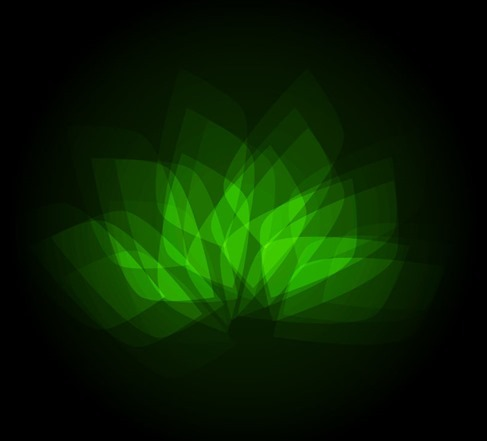 Abstract Bright Green Geometric Flower