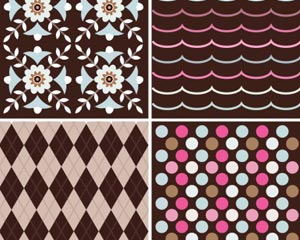 Stock Vector set of four colorful seamless pattern