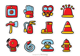 Cartoon Fireman Icons Vector Pack