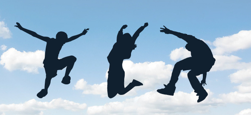 Jumping People Silhouettes Set 2