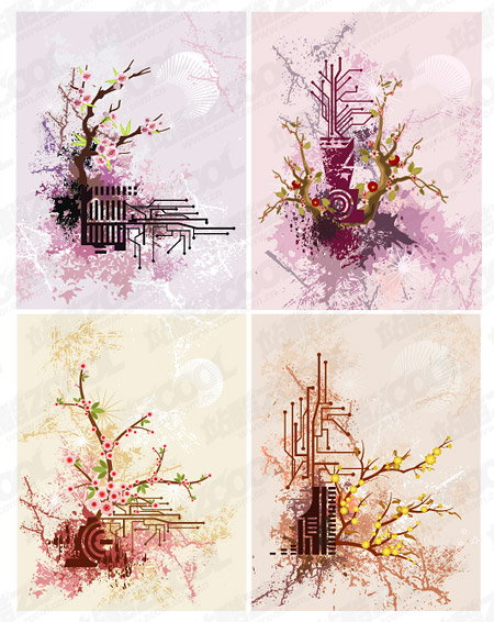 Comparison Of Modern And Classical Material Plum Vector Illustrations