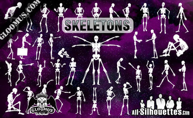 38 Skeletons Vector Clipart