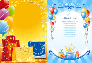 Vector holiday gift shopping bags balloon material