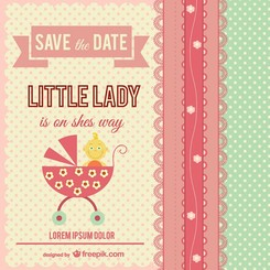 Little lady baby shower card