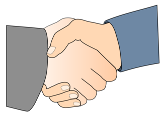 Handshake with Black Outline (white man hands)