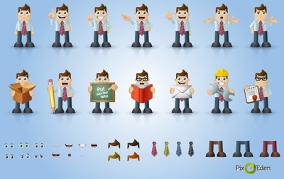 Comic Businessman Character Pack