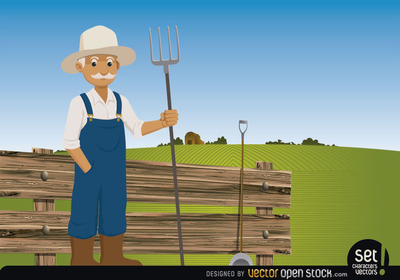 Farmer pitchfork on his farm