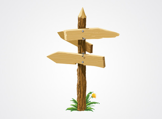 Wooden Sign with Direction Arrows