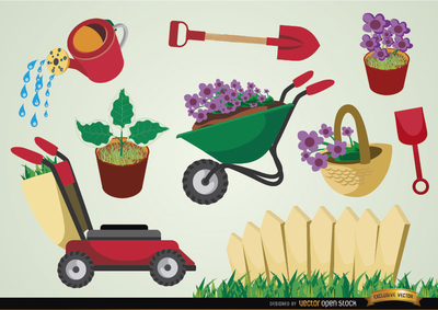 Gardening tools and plants set