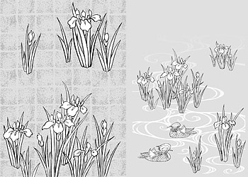 Japanese Line Drawing Of Plant Flowers Vector Graphic -44 (