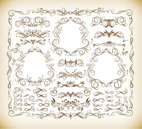 Calligraphic Design Elements Vector Illustration Set