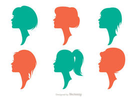 Silhouette Woman With Hairstyles Vectors Pack 2